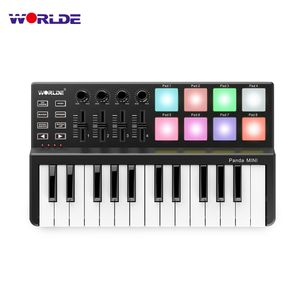 WORLDE Panda MINI 25-Tasten Ultra-Portable USB MIDI Keyboard Controller 8 Bunte Hintergrundbeleuchtung Trigger Pads