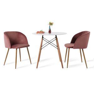 IPOTIUS 2er Set Retro Stuhl Polstersessel Samt Lounge Sessel Clubsessel Fernsehsessel,Rosa