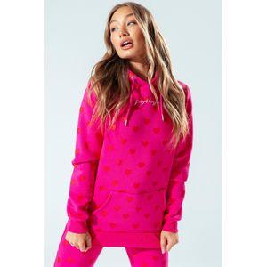 Hype Damen Kapuzenpullover mit Herz-Muster HY2014 (40 DE) (Pink)