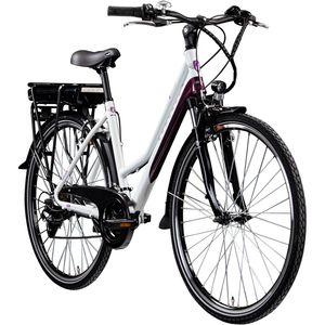 Zündapp Z802 E Bike 28 Zoll Elektro Bike Trekkingrad Damen E Fahrrad 700c Elektrorad E Trekkingrad 21 Gänge, Farbe:weiß/lila, Rahmengröße:48 cm