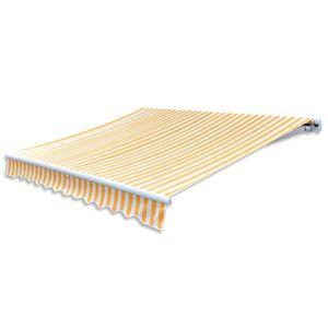 Hommie® Markisenvolant Markisenstoff Markisentuch - Canvas Sonnenblumengelb & Weiß 4x3 m ❤2986