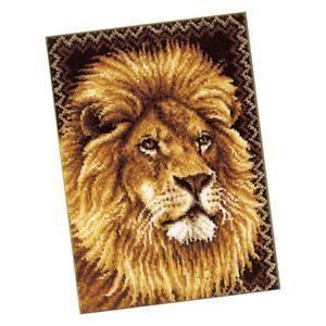 Knüpfteppich für Kinder und Erwachsene, Teppiche zum Selber Knüpfen, Teppichfertigungs-Set, Latch Hook Rug Kits (Motiv Löwe)