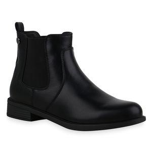 Mytrendshoe Damen Stiefeletten Leicht Gefüttert Chelsea Boots Blockabsatz 835402, Farbe: Schwarz Muster, Größe: 39