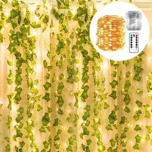 Künstliche Efeu Girlande Gefälschte Pflanzen mit 100 LED Lichterketten Home Küche Garten Büro Hochzeit Wanddekoration Büro Hochzeit Wanddekoration 12er Pack