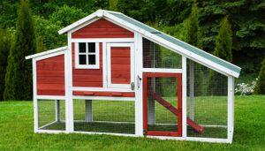MyAnimal Hühnerstall für 4 Hühner MH-32 mit Eiablage, Hühnerhaus schutzimprägniert, Dach abnehmbar (Rot/Weiß)