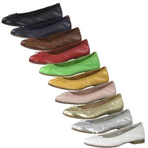Tamaris 1-22116-24 Damen Ballerinas Schuhe Slipper Leder, Größe:38 EU, Farbe:Blau