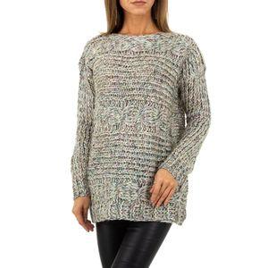 Ital-Design Damen Pullover & Strick Longpullover Grau