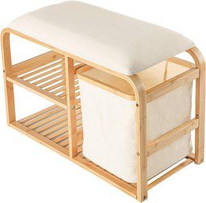 Lumaland Bambus Schuhregal mit Sitzbank Schuhbank 2 Ebenen 1 Korb Schuhständer Holz Schuh Regal 69,5x30x45 cm