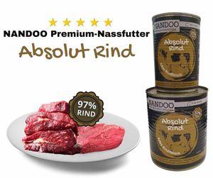 NANDOO Nassfutter | Rind | 6er-Pack | 0% Getreide