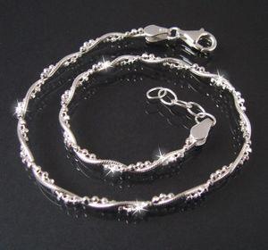 Fußkette 2Ketten Schlangenkette Kugelkette 925 Silber 24-26cm 16822-26