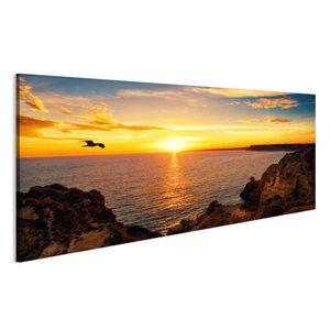 Bild Bilder auf Leinwand Ruhige Sonnenuntergang Landschaft am Meer mit dem Sonnenlicht spiegelt sich  Wandbild Leinwandbild Poster
