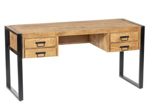 Schreibtisch Mangoholz & Metall HARLEM - 4 Schubladen