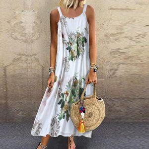 Frauen Vintage ärmelloses O-Ausschnitt Plus Size böhmischen Blumendruck Maxikleid Größe:XXXL,Farbe:Grün