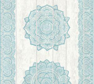A.S. Création Vliestapete Boho Love Tapete weiß grau blau 10,05 m x 0,53 m 364624 36462-4