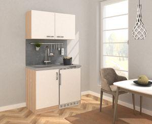 respekta Küche Miniküche Küchenzeile Küchenblock 100 cm Eiche Sägerau weiß