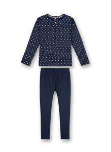 Sanetta Mädchen Schlafanzug Set - lang, Kinder, 2-tlg. gepunktet, 140-176 Blau 176