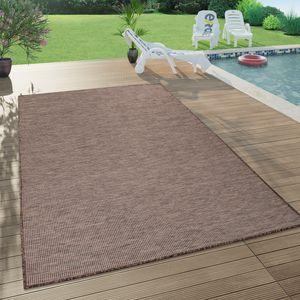 In- & Outdoor-Teppich Für Wohnzimmer, Balkon, Terrasse, Flachgewebe In Braun, Grösse:140x200 cm