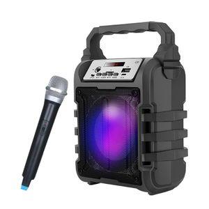 Tragbarer Cool LED LED Light 3D-Subwoofer mit drahtlosem bluetooth-Lautsprechersystem und drahtloser Mikrofonunterstützung Freisprecheinrichtung / USB / TF-Karte / AUX / FM-Karaoke-Maschine für Aktivitäten im Freien Home Party