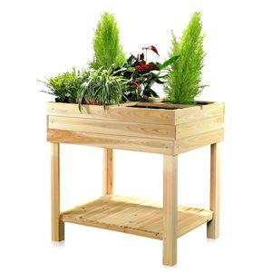 Hochbeet Holz + 4 Fächer Pflanztisch Gartenbeet Blumenständer Pflanzkasten