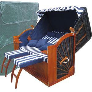 Strandkorb Kampen ✔ 2,5 Sitzer ✔ XXXL ✔ blau-weiss ✔ PE-Rattan