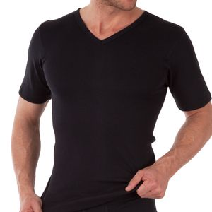 3er Pack Herren V-Neck T-Shirt Feinripp Exclusive Schwarz-9