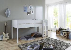 Relita Halbhohes Bett Luka 90x200 MDF/Buche weiß lackiert, ohne Vorhang