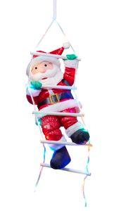 Weihnachtsmann auf Strickleiter, die Leiter ist mit 30 bunten LEDs beleuchtet, kletternder Nikolaus für Innen- und Außen (traditionell)