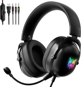 3.5mm Gaming Kopfhörer mit Mikrofon LED Headset Noise Cancelling für PS4, PS5, Xbox One, PC