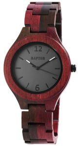 Raptor Holz Uhr Armbanduhr RA10191-001 rotbraun schwarz