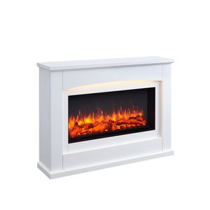 RICHEN Elektrokamin Argon Elektrischer Kamin (2000W, LED-Beleuchtung, 3-D Flammeneffekt, Fernbedienung) Weiß