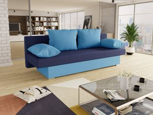 Schlafsofa Tina inklusive Bettkasten - Sofa mit Schlaffunktion, Bettsofa, Couchgarnitur, Couch, Bett, Schlafmöbel (Hellblau + Blau (Alova 29 + 24))