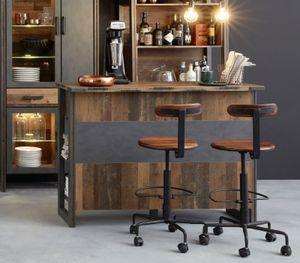 Hausbar Prime in Old Used Wood Design mit Matera grau Bar / Theke in Shabby Vintage 140 x 105 cm