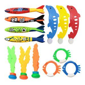 Pool-Tauchspielzeug-Set für Jungen Mädchen im Alter von 3-11 Jahren Tauchen Gras-Tauchstöcke Unterwasserspiele Greifspielzeug - 13 Stück Farbe 13 Stück