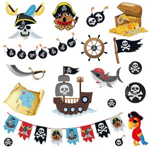 Oblique Unique 18 Temporäre Klebetattoos Kinder Tattoo Set - Piraten Motive