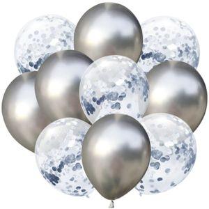 Oblique Unique Konfetti Luftballon Set 10 Stk. Geburtstag Hochzeit Silberhochzeit silber