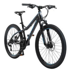 BIKESTAR Hardtail Aluminium Mountainbike 26 Zoll, 21 Gang Shimano Schaltung mit Scheibenbremse | 16 Zoll Rahmen MTB Erwachsenen- und Jugendfahrrad | Schwarz & Blau