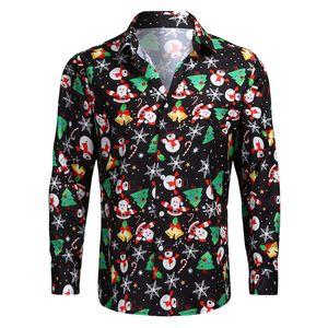 Maenner Weihnachtshemd Netter Santa Schneemann-Druck Slim Fit Langarm Camisa Maennlich Weihnachtskleidung Laessig Weihnachtskostüme [M]
