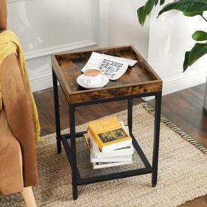 VASAGLE Nachttisch mit Gitterablage | Beistelltisch kleiner Sofatisch einfacher Aufbau stabil Industriestil vintagebraun-schwarz LET36BX