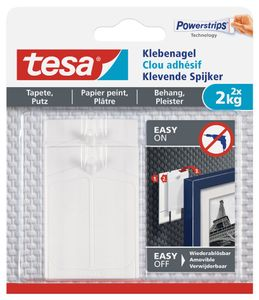 tesa Powerstrips Klebenagel für Tapete und Putz 2,0 kg 2 Nägel + 6 Strips