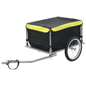 Transportanhänger Fahrradanhänger Lastenanhänger Fahrrad Anhänger Handwagen für 65 Kg Schwarz und Gelb