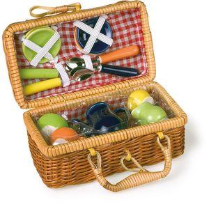 Small Foot 8951 Picknickkorb, mit Keramikgeschirr, mehrfarbig, 18-teilig (1 Set)
