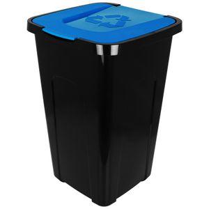 Abfalltonne 50L mit Klappdeckel schwarz/blau Recycling Mülltonne Mülleimer Abfalleimer