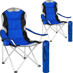 tectake 2 Campingstühle mit Polsterung - blau