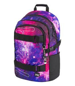 Baagl Schulrucksack für Mädchen Teenager - Skateboard Rucksack - Kinderrucksack mit Laptopfach und Brustgurt für Schule (Skate Galaxy)