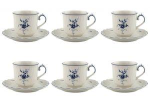Villeroy & Boch VIEUX LUXEMBOURG Mokka-/Espressotasse 2tlg 6er Set weiß blau