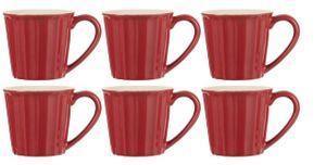6er Set Becher, Tassen MYNTE Strawberry rot für 250ml Steingut Ib Laursen