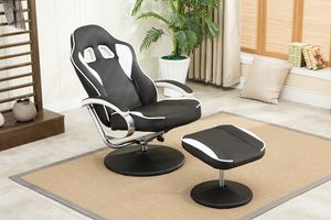 MCombo Racing Sessel Gaming Sessel Relaxsessel Fernsehsessel kippbar mit Hocker