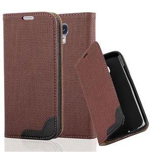 Cadorabo Hülle für Samsung Galaxy S4 - Hülle in KASTANIEN BRAUN - Handyhülle in Bast-Optik mit Kartenfach und Standfunktion - Case Cover Schutzhülle Etui Tasche Book Klapp Style