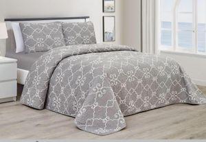 3 Teilige Tagesdecke  Bettüberwurf + Kissenbezug Grau 220cm x 240cm G004