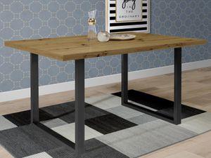 möbelando Esszimmertisch Küchentisch Speisetisch Tisch Holztisch Esstisch Talbert XIV Artisan Eiche/Schwarz